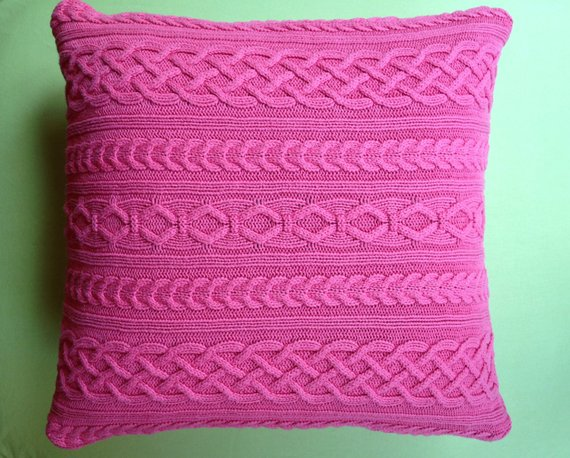 Best Cable Knit Sweater Pillow Cover Bright Pink Medium