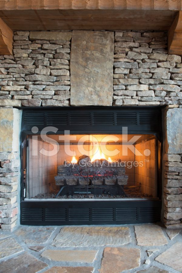 Best Gas Fireplace With Stone Surround Stock Photos
