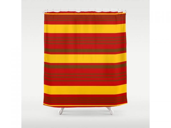 Best Red Yellow Stripe Shower Curtain 71 X 74 Bathroom Medium