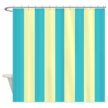 Best Retro Blue And Yellow Stripes Shower Curtain By Medium