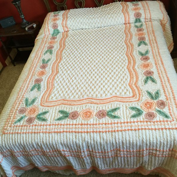 Best Vintage Chenille Bedspread Full Size Bedspread Lightweight Medium