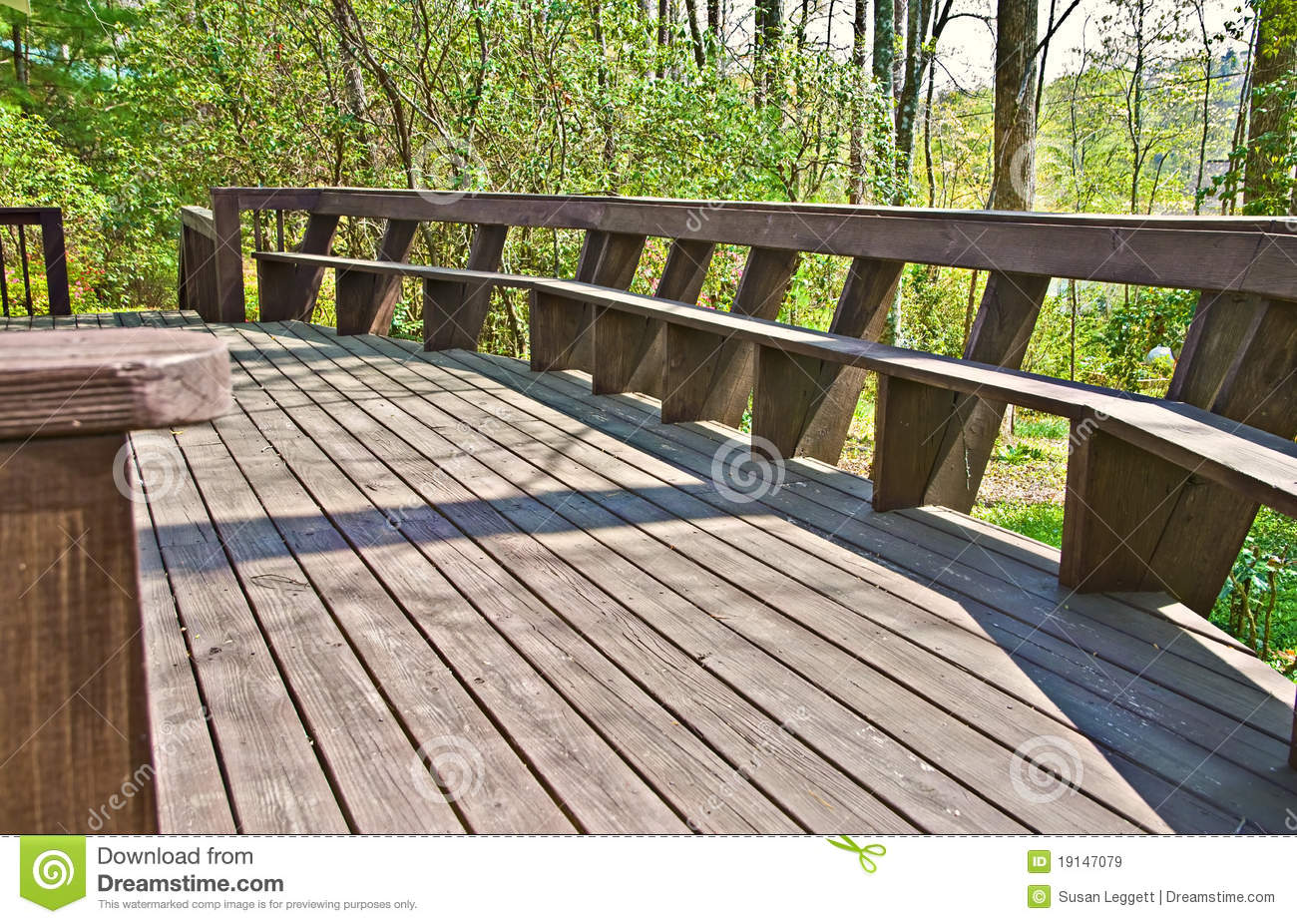 best wood deck design with bench stock image image 19147079