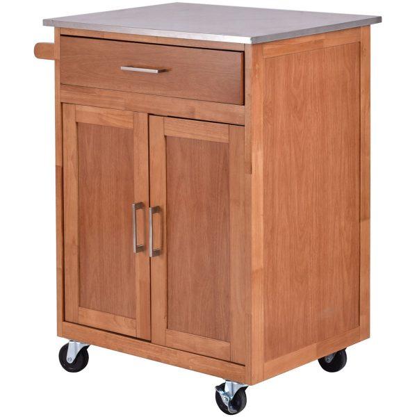 Best Wooden Kitchen Rolling Storage Cabinet With Stainless Medium