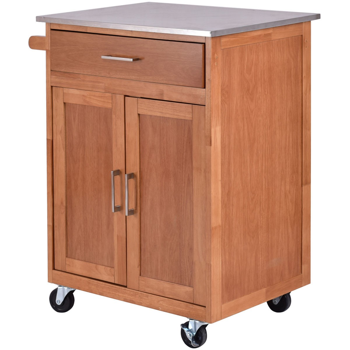 best wooden kitchen rolling storage cabinet with stainless