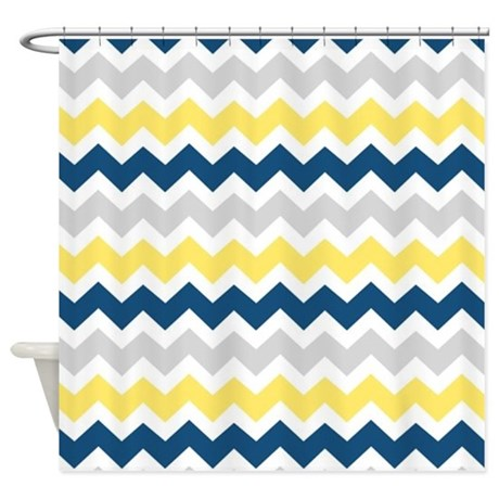 Best Yellow Blue Grey Chevron Stripes Shower Curtain By Medium