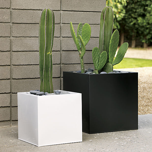 Blox Galvanized Charcoal Planters CB2 Medium