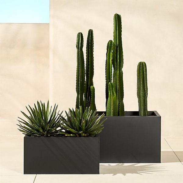 Blox Rectangular Galvanized Charcoal Planters For Cactus Medium