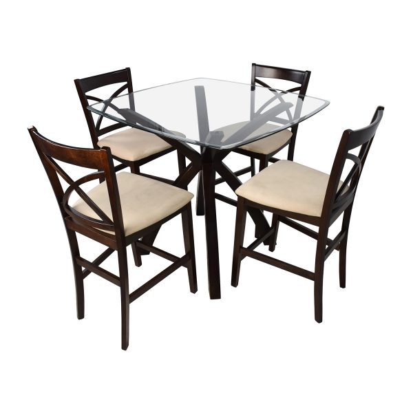 Bore 53  Off Counter Height Glass And Wood Table With Four Medium
