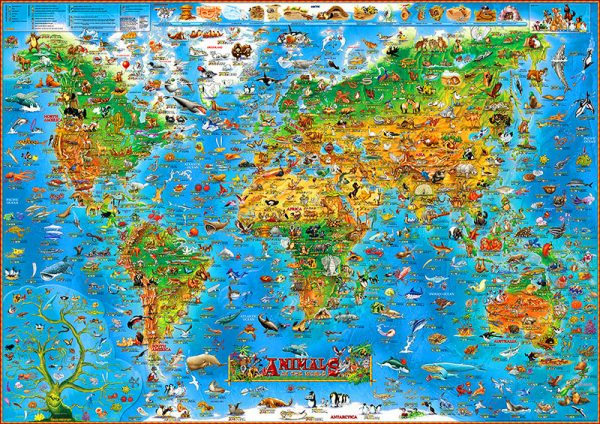 Bore Childrens Animals Of The World Wall Map Paperstanfords Medium