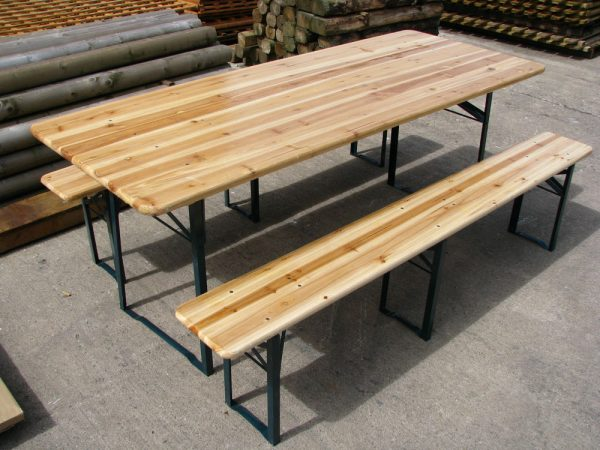 Bore Large Outdoor Wooden Folding Beer Table Bench Set Collect Medium