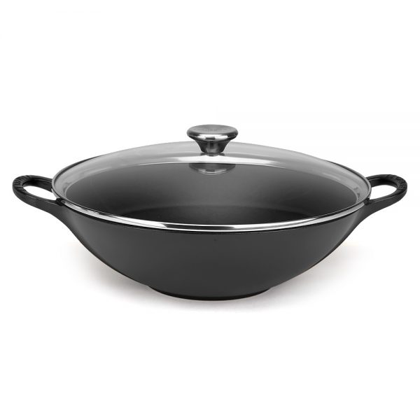 Bore Le Creuset Satin Black Wok With Glass Lid 32cmpeters Medium