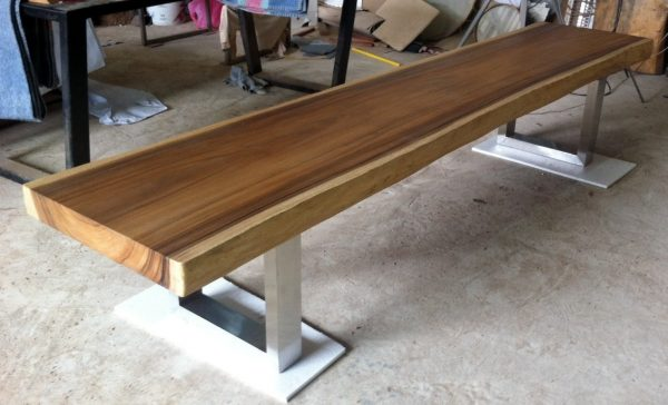 Bore Live Edge Bench Table Reclaimed Acacia Wood Solid Slab Medium