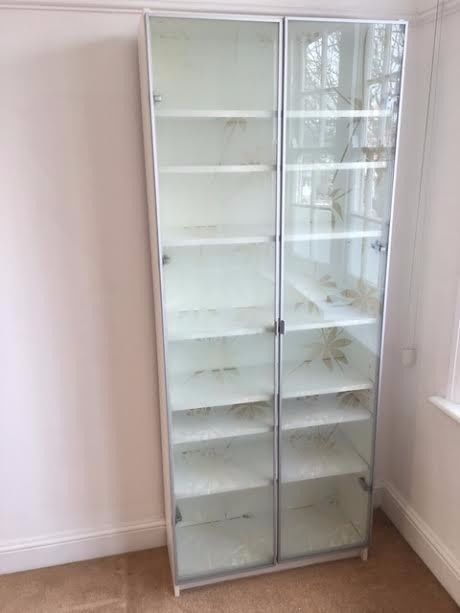 Bore Lovely Ikea Billy White Bookcase Frosted Glass Doors Medium