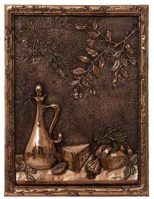 Bore Olives   Bread Metal Backsplash Mural Medium