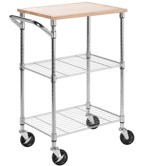 Bore Rolling Kitchen Cart Chrome In Kitchen Island Carts Medium