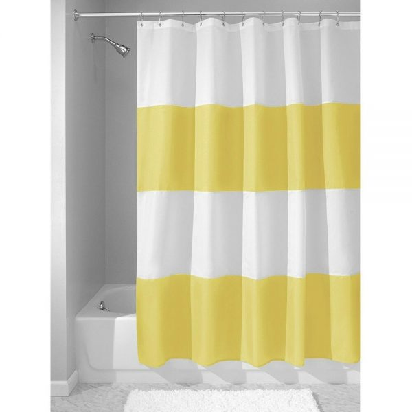 Bore Waterproof Shower Curtain Yellow And White Modern Home Medium