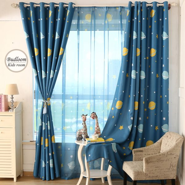 Browse Cartoon Blue Planet Star Curtains For Kids Room Lovely Medium