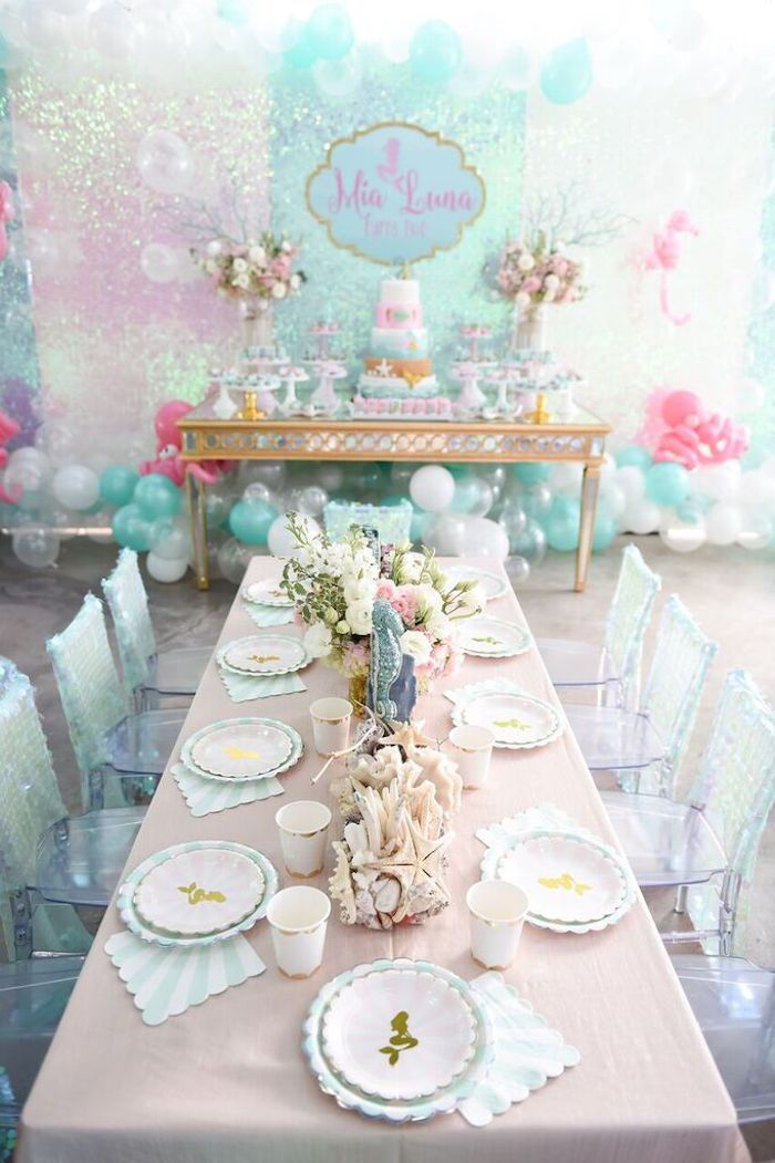 browse dining tablescape from a mermaid oasis themed birthday