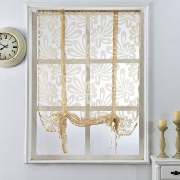Browse Kitchen Short Curtains Jacquard Roman Blinds Floral White Medium