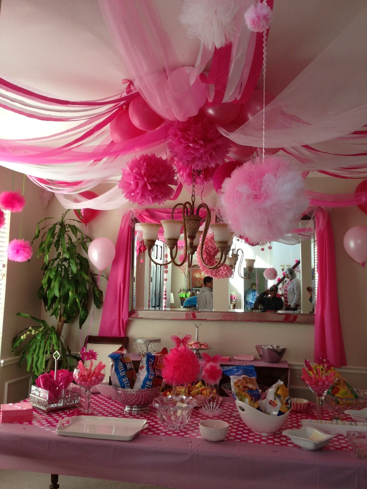 browse pink party decor  i used a hula hoop as the central