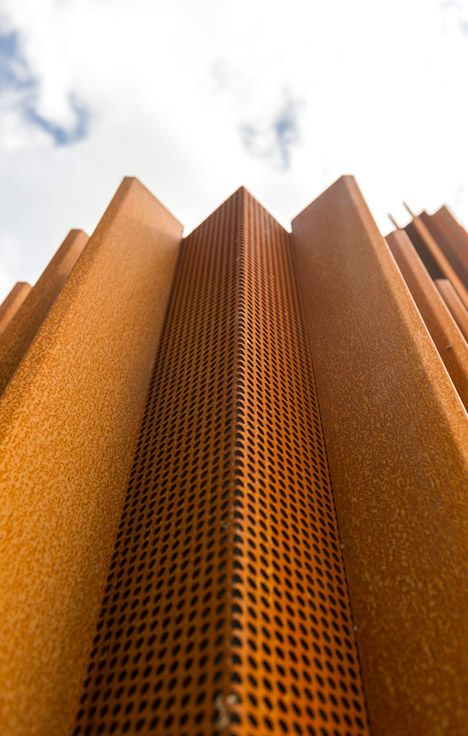 Browse Strips Of Prerusted Corten Steel Run In Vertical Columns Medium