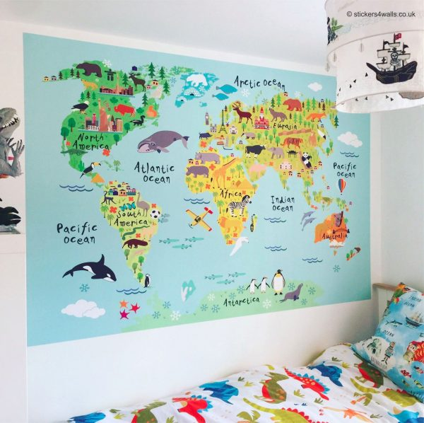 Browse World Map Fabric Wall Sticker For Kids Medium