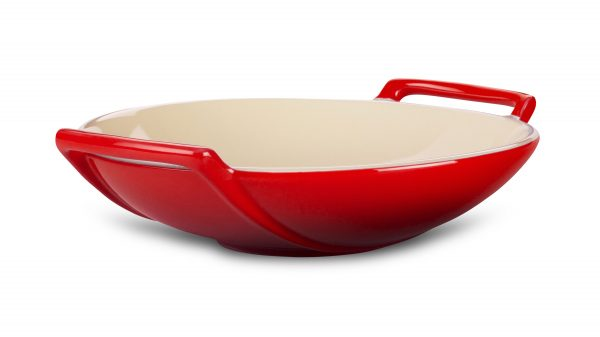 Clever Le Creuset Stoneware Wok Dish 28ounce Cherry Red Medium