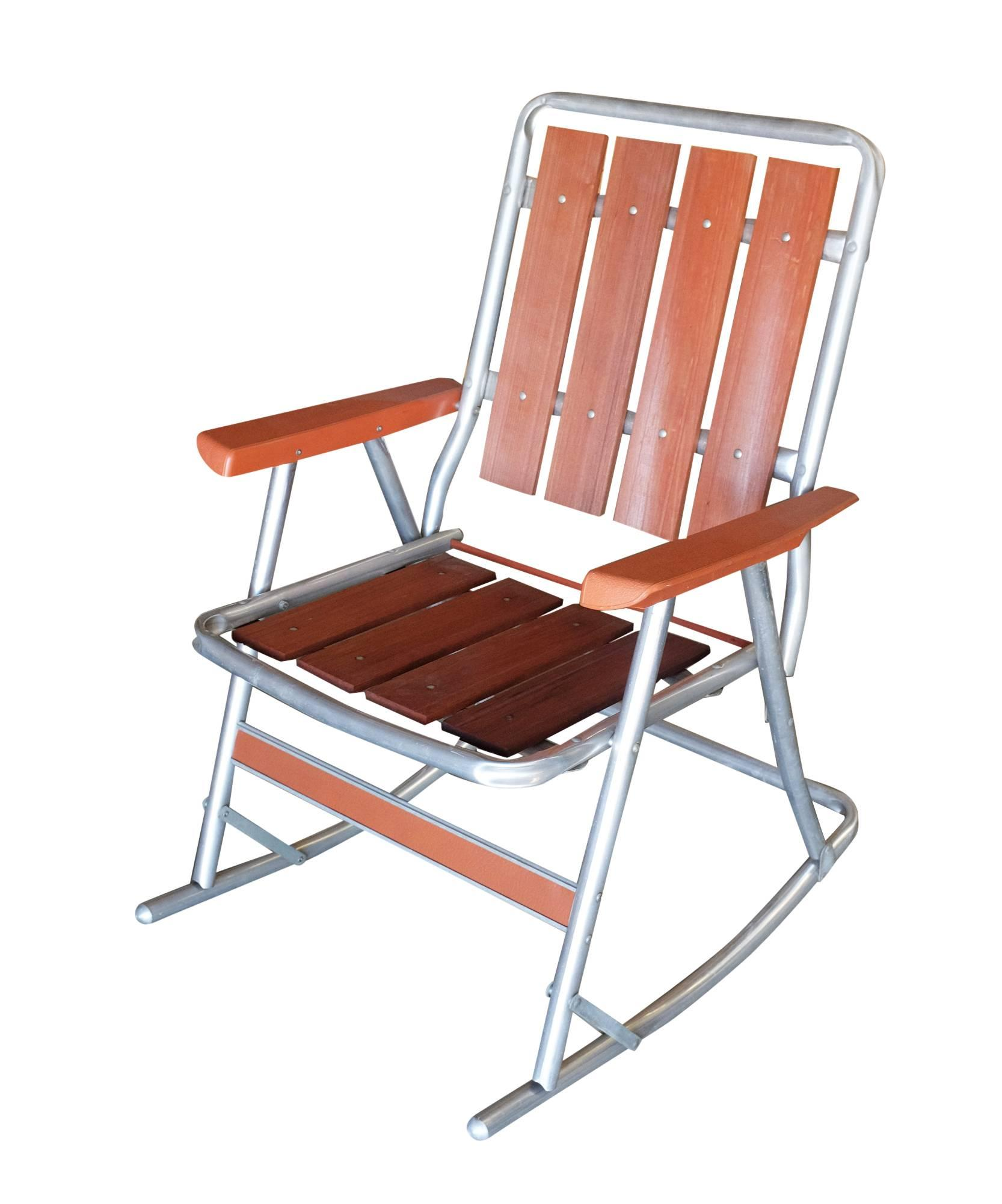 clever midcentury aluminum and wood outdoor folding rocking
