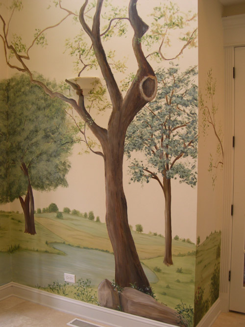 Clever Painted Tree Muralmuralist Debbie Ceronewall Murals Medium