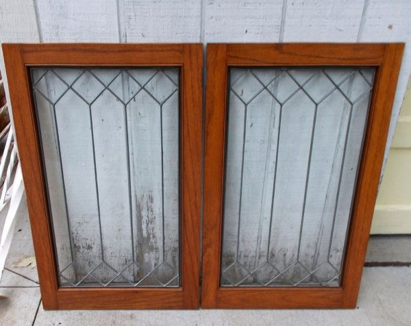Clever Pair Antique Leaded Glass Window W  Frame Architectural Medium