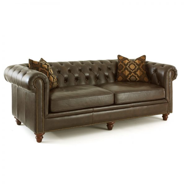 Clever Steve Silver Tusconny Leather Sofa With 2 Accent Pillows Medium