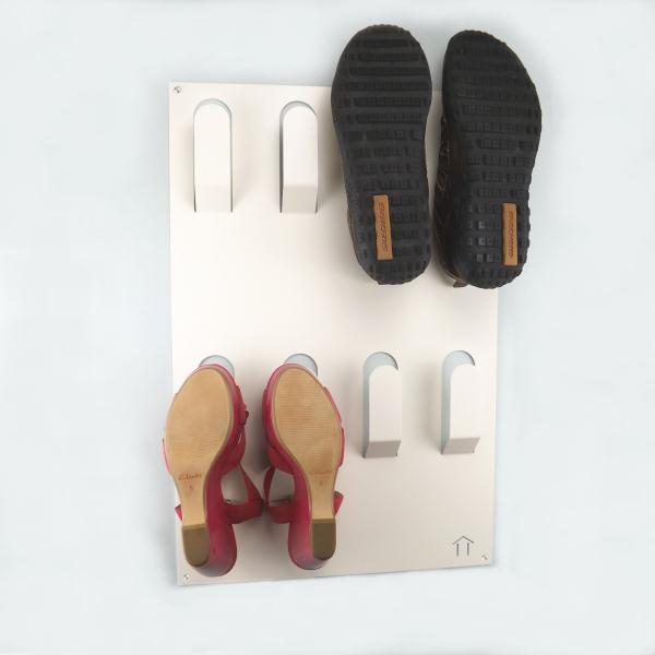 Clever Unique Wall Mounted Metal Shoe Rack White Medium