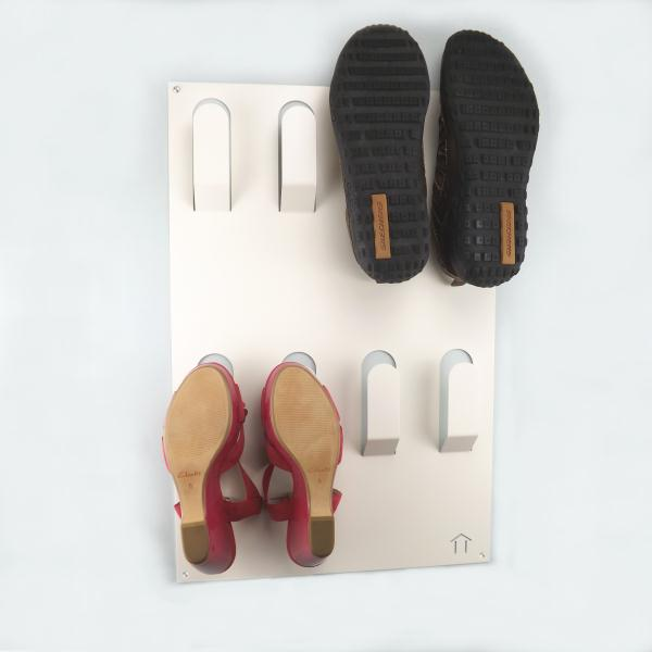 clever unique wall mounted metal shoe rack white