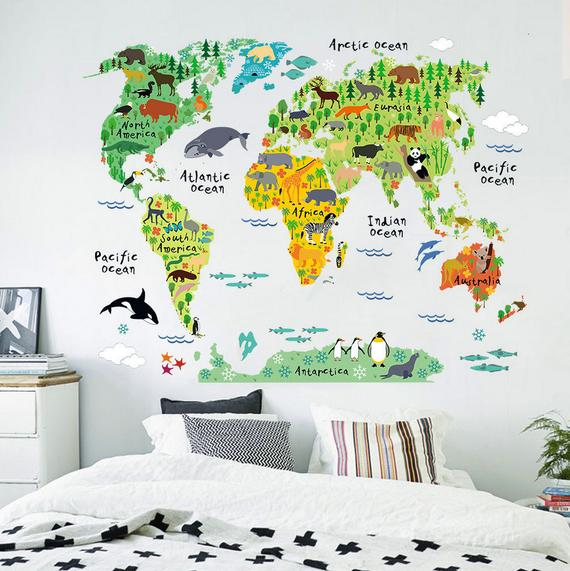 Clever World Map Kids Wall Decals Children Wall Stickers World Map Medium