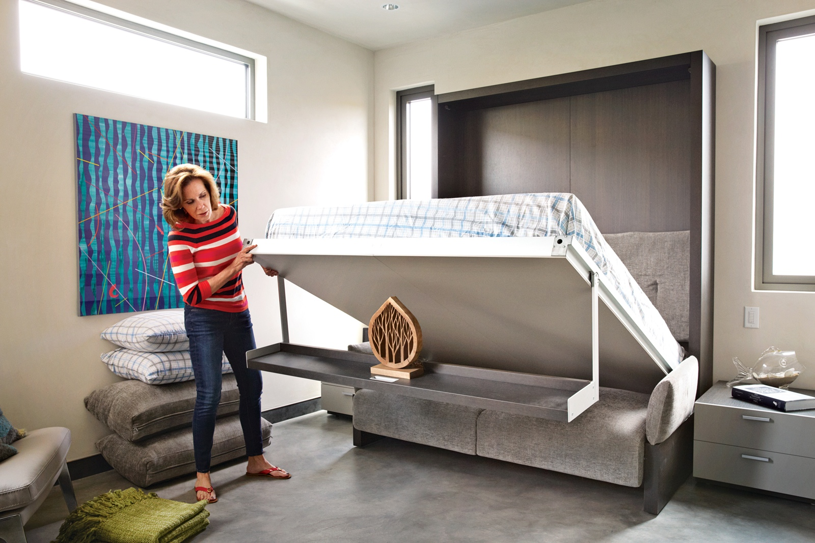 collection adaptive spacesaving bed snaps into ceiling when not