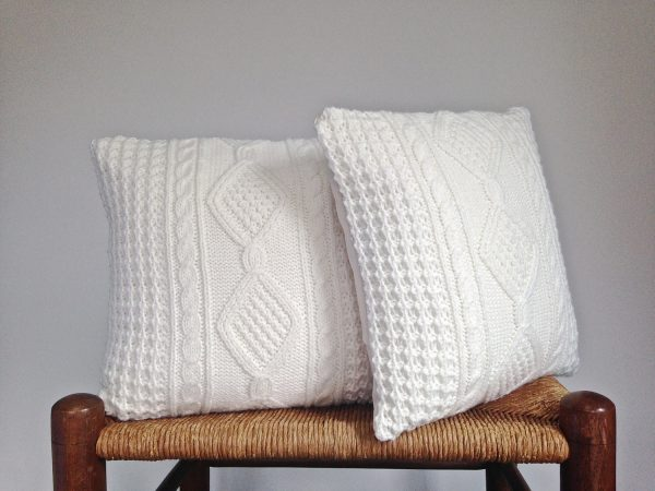 Collection Celtic Cable Sweater Pillow Covers Off White Up Cycled Sweater