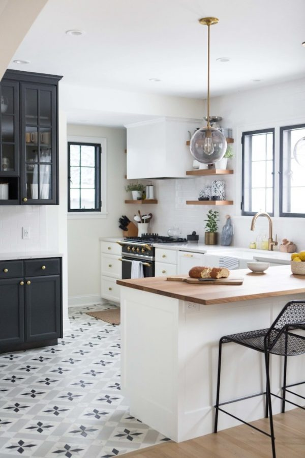 Collection Charming Black White And Brass Kitchen Renovation Medium