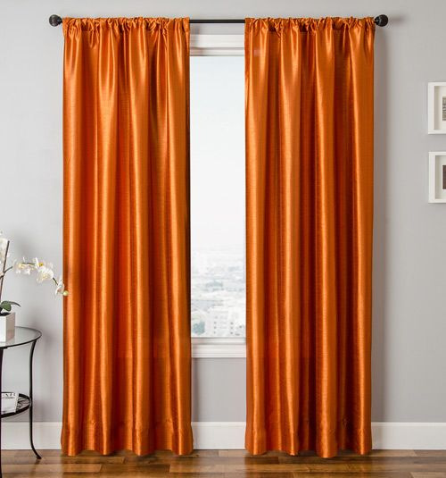 Collection Dynasty Faux Silk Drapery Panel In Tangerinedecor With Medium