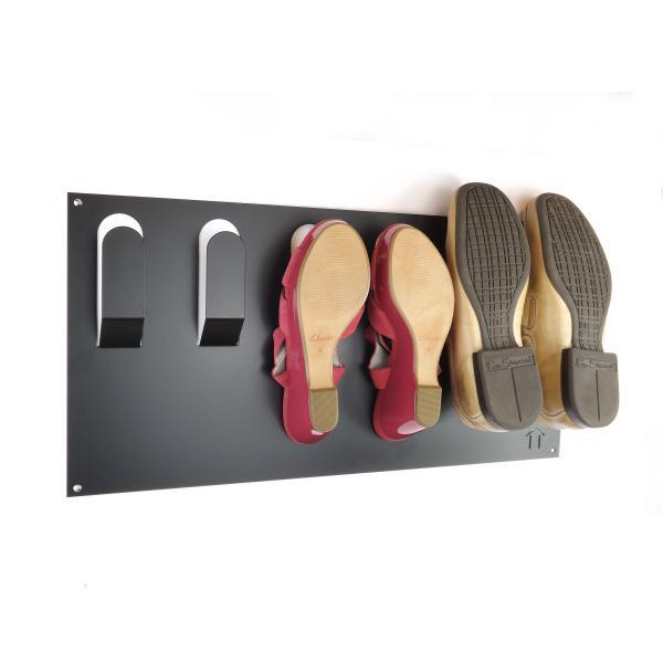 collection horizontal wall mounted metal shoe rack black
