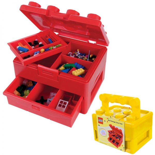 Collection Lego Brick Storage Carry Case With Fold Out Handle Toy Box Medium