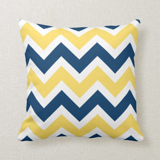Collection Navy Blue And Yellow Chevron Zigzag Pattern Pillowzazzle Medium