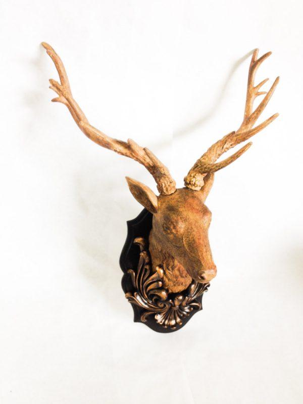 Collection Saleresin Deer Head With Oak Leaf By Vintagehomeliving Medium