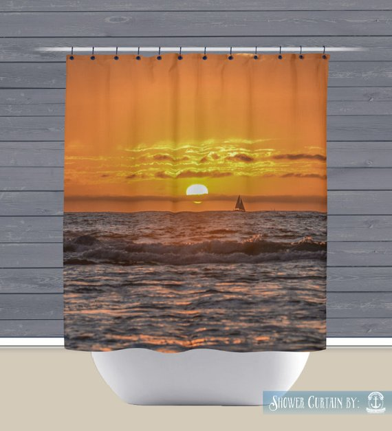 Collection Shower Curtain Sunset San Diego California Beach House Style Medium