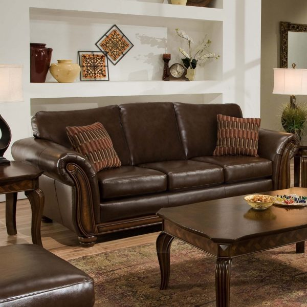 Collection Simmons Santa Monica Vintage Leather Sofa With Accent Medium