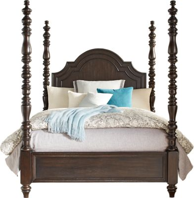 Collection Westerleigh Oak 4 Pc King High Poster Bed Beds Dark Wood Medium