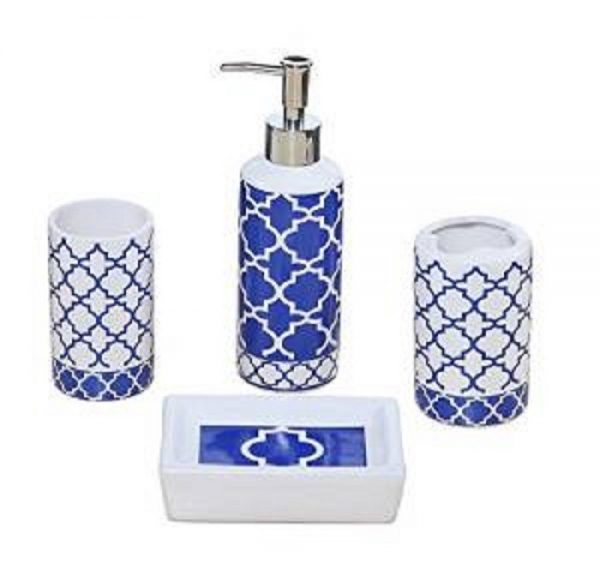 Creative 4 Piece Bathroom Accessory Set Blue And White Medium