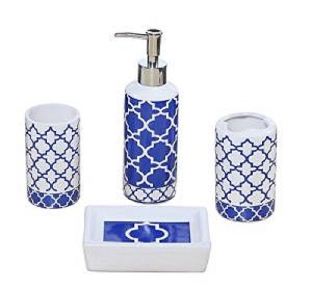 creative 4 piece bathroom accessory set blue and white