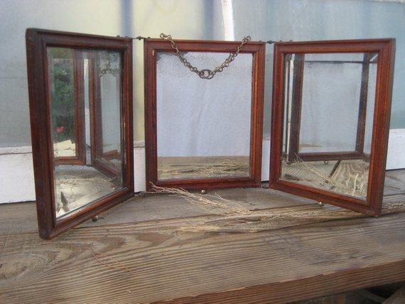 Creative Antique Three Way Tri Fold Shaving Vanity Mirror Medium