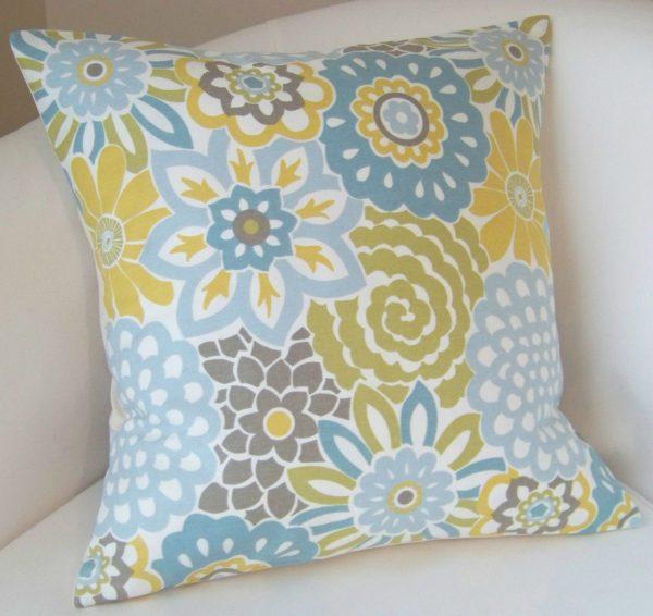 Creative Decorative Pillow Cover Spa Blue Yellow Cushion Throw Accent Medium