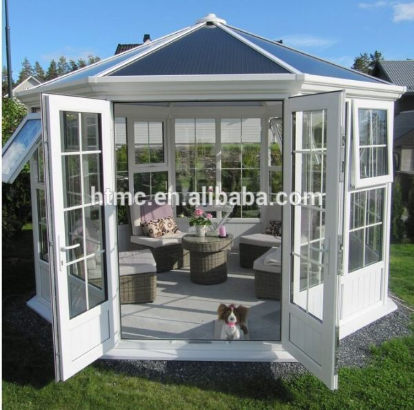 Creative Fashion Design Aluminum Glass House Sunroom With Double Medium